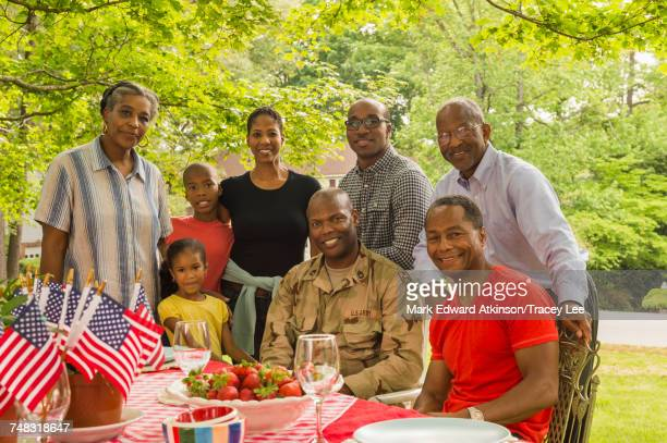 Portrait of smiling multi-generation family at picnic