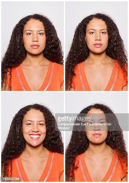 Portrait of smiling woman in photo booth