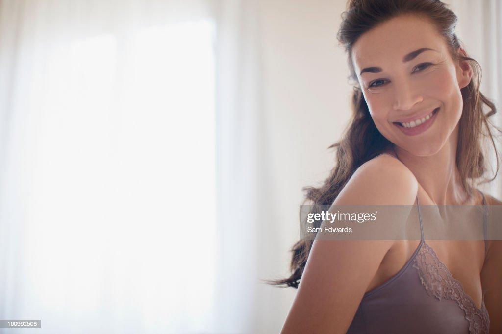 笑顔の女性のポートレート : ストックフォト