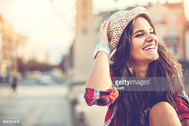 Portrait of smiling woman with copy space