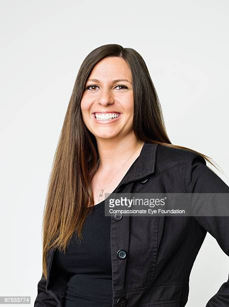 Portrait of smiling woman with long hair