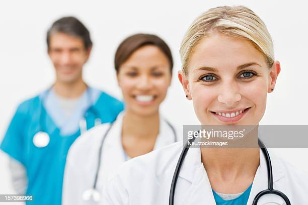 Portrait of smiling young doctors