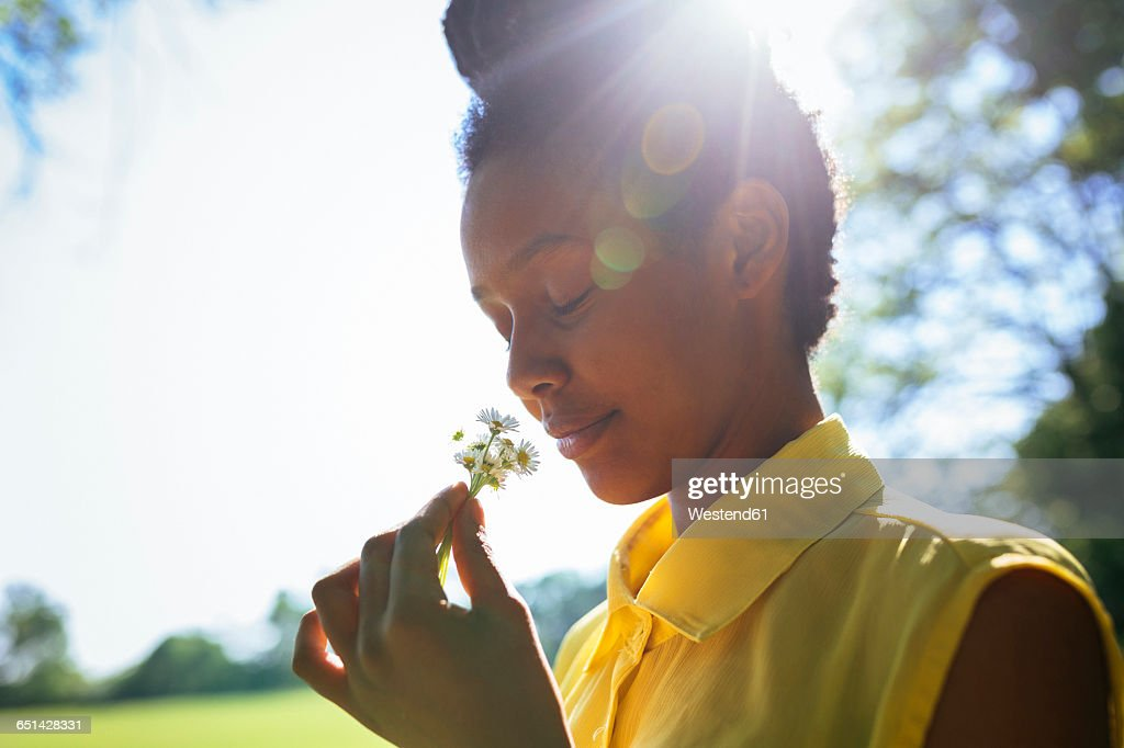 Portrait of smiling young woman smelling flowers : Stockfoto