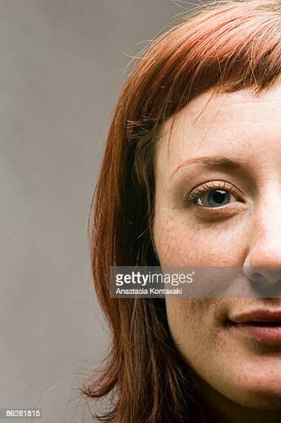 Portrait of smirking woman