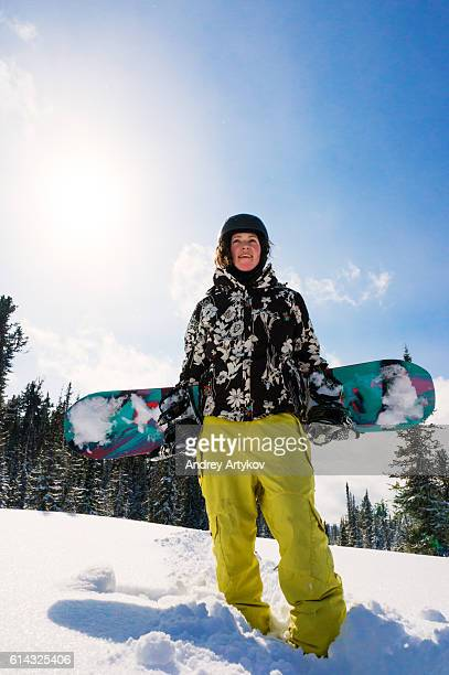 portrait of snowboarder girl