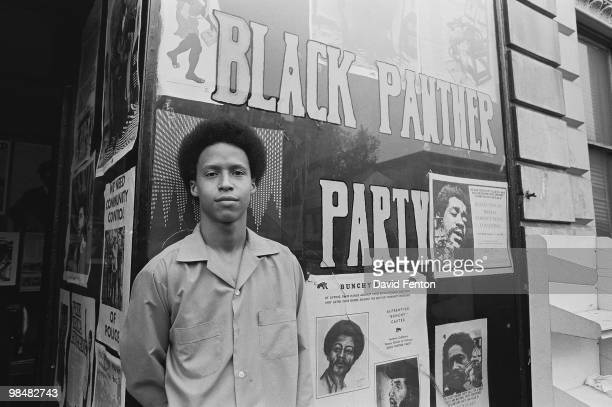 Portrait of social and political activist and Black Panther Party member Jamal Joseph, youngest of the Panther 21, outside the Party headquarters,...