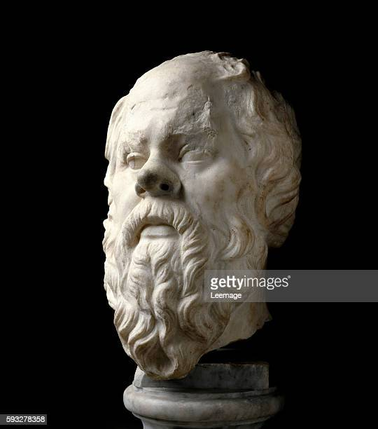 Portrait of Socrates Marble sculpture Roman copy of a Greek original by Lysippos on the Pompeion of Athens Museo nazionale romano Rome
