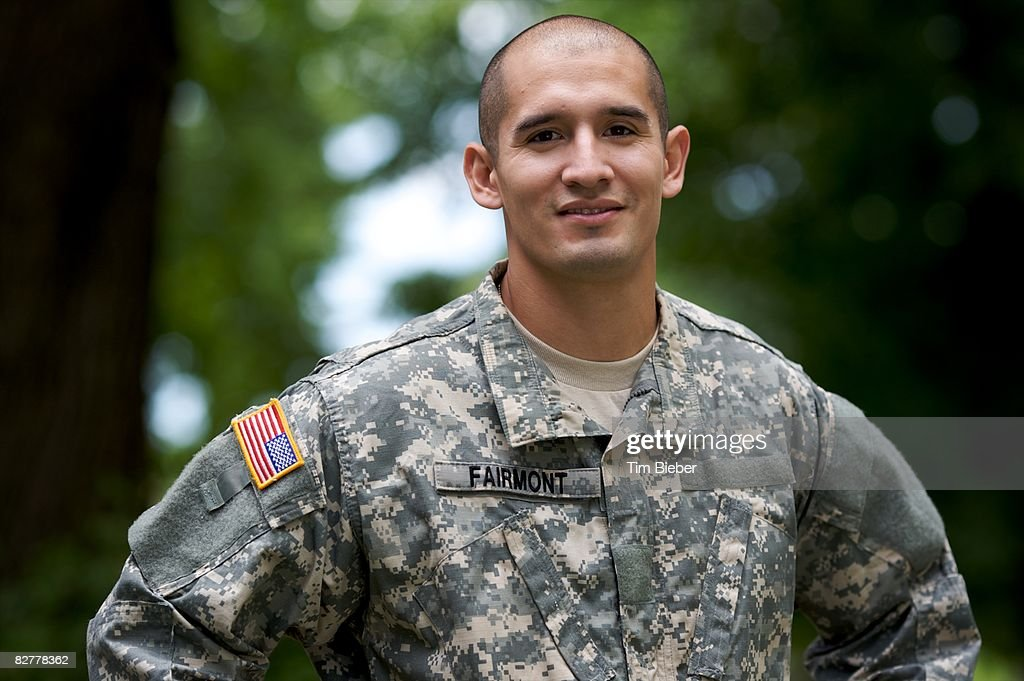 Portrait of Soldier in Uniform  : Stock Photo