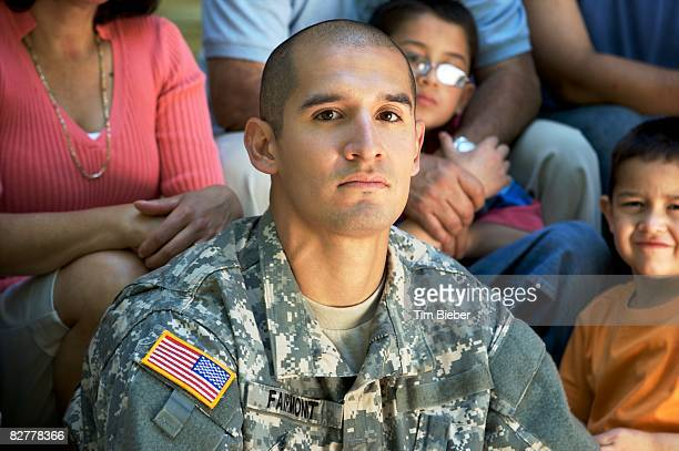 portrait of soldier in uniform  - mid section stock pictures, royalty-free photos & images
