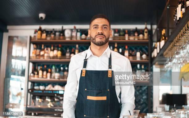 portrait of sommelier in bar establishment - bar drink establishment stock pictures, royalty-free photos & images