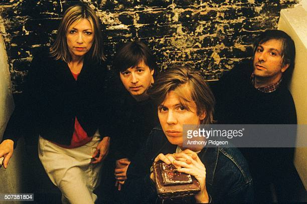 Kim Gordon Steve Shelley Thurston Moore and Lee Ranaldo backstage at The Fillmore Auditorium in San Francisco California USA on 26th May 1998