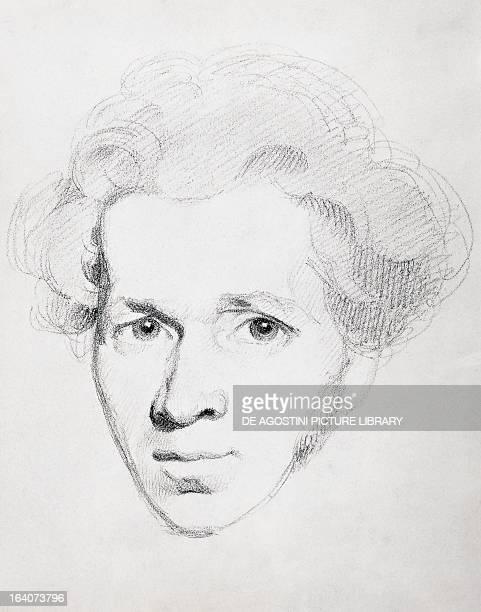 Portrait of Soren Aabye Kierkegaard , philosopher and theologian. Drawing. Copenhagen, Royal Library