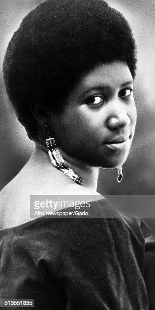 Portrait of soul music singer Aretha Franklin wearing Afro haircut 1970