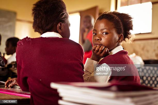 portrait of south african girls in a rural transkei classroom - south african culture stock photos and pictures