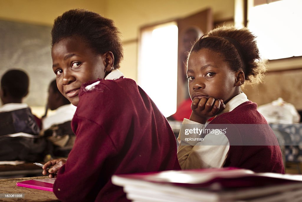Portrait of South African girls in a rural Transkei classroom : Stock Photo