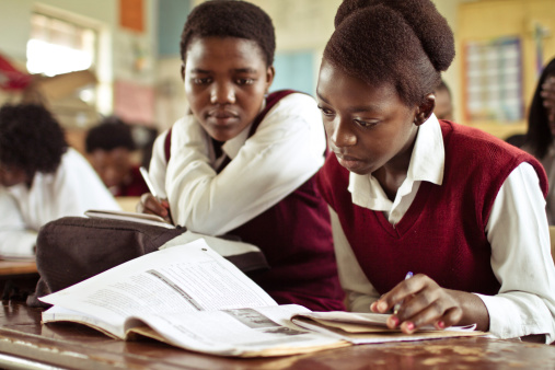Portrait of South African girls studying in a rural classroom 182061552