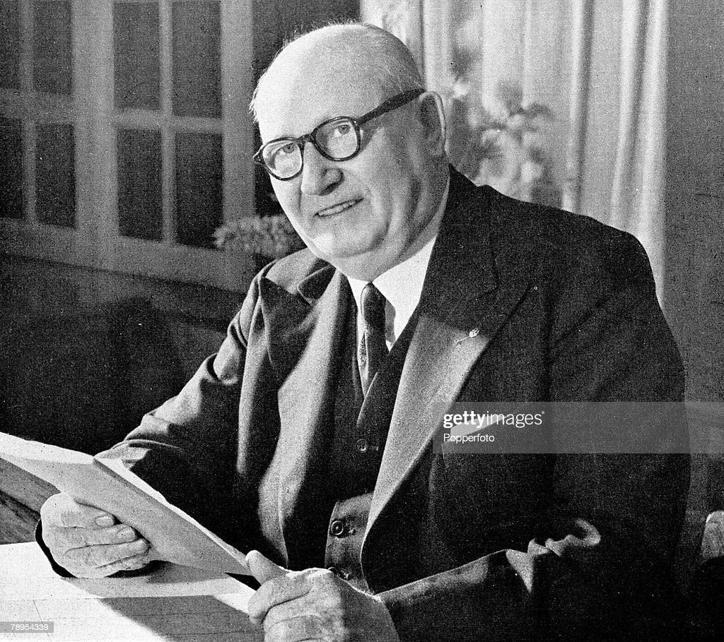Portrait of South African politician Daniel Malan 1874 - 1959 and Prime Minister 1948 - 1954 seated at his desk