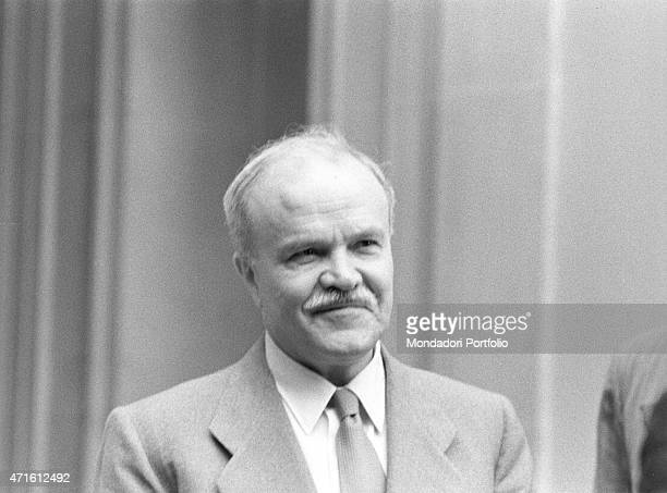Portrait of Soviet Minister of Foreign Affairs Vyacheslav Molotov at the Geneva Summit discussing issues about security German reunification and...