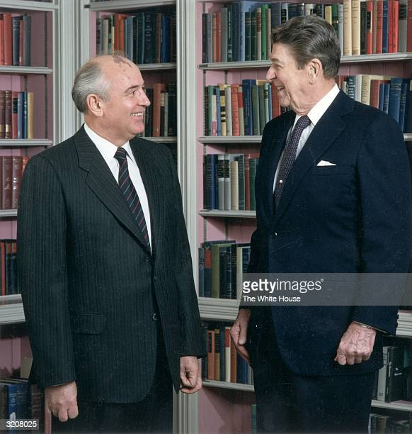 A portrait of Soviet secretary general Mikhail Gorbachev and US president Ronald Reagan at a Summit meeting in Washington DC