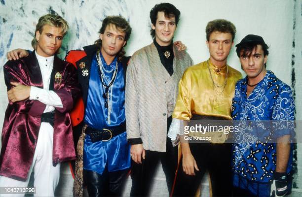 Portrait of Spandau Ballet, Tony Hadley, Gary Kemp, Martin Kemp, John Keeble, Steve Norman, Brielpoort, Deinze, Belgium, 2nd February 1985.