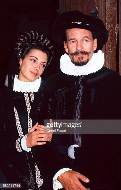 Portrait of Spanish actors Monica Molina and Tony Isbert on set and in costume for the film 'Cervantes' Esquivias Toledo Spain 1997