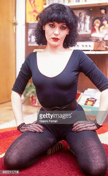 Portrait of Spanish actress Beatriz Escudero as she poses in a black leotard and tights Madrid Spain 1976