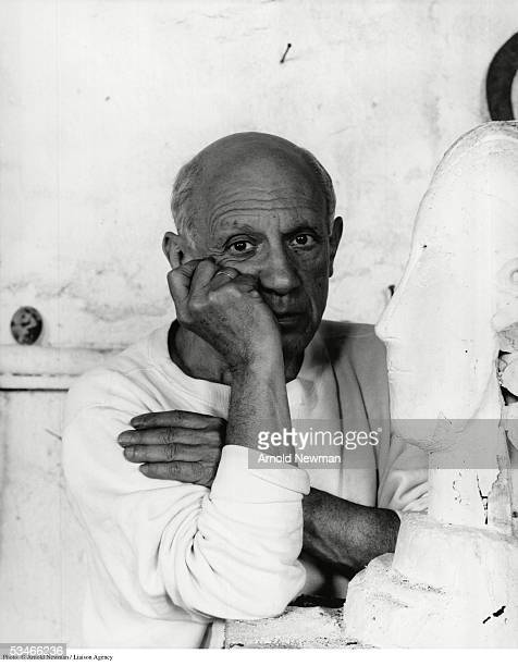 ***EXCLUSIVE** Portrait of Spanish artist Pablo Picasso June 2 1954 in Vallauris France Picasso is considered by many to be the foremost figure in...