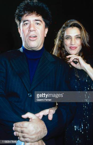 Portrait of Spanish film director Pedro Almodovar and actress Angela Molina Madrid Spain 1995 The pair worked together on the 1997 film 'Carne...