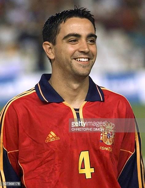Portrait of Spanish midfielder Xavier Hernandez Creus known as Xavi taken 01 September 2001 in Valencia before the 2002 World Cup qualifying match...