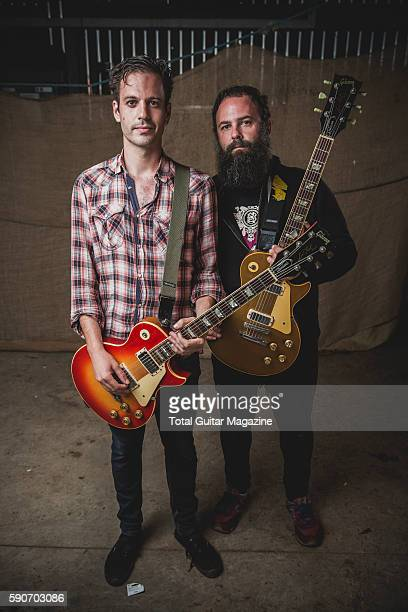 Portrait of Spanish musicians Esteban Jimenez and Víctor GarciaTapia guitarists with instrumental rock group Toundra photographed backstage at...
