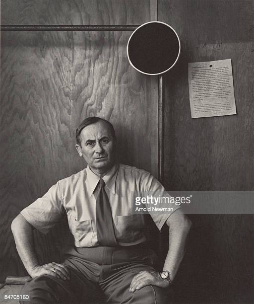 Portrait of Spanish Surrealist artist Joan Miro as he sits with his hands on his thighs New York New York April 21 1947