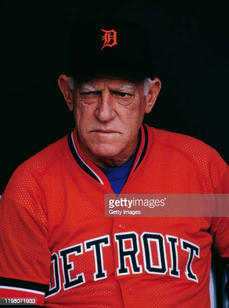 Portrait of Sparky Anderson, Manager of the Detroit Tigers during the Major League Baseball American League West game against the Kansas City Royals...