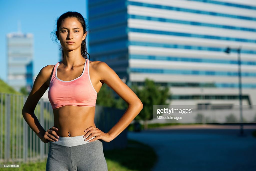 Portrait of sporty young woman. : Stock Photo