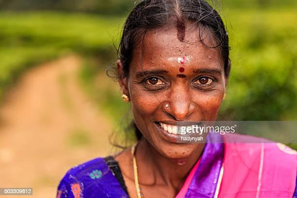 Portrait of Sri Lankan woman near Nuwara Eliya, Ceylon