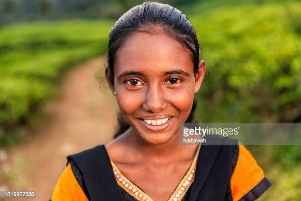 portrait of sri lankan young girl near nuwara eliya, ceylon - sri lankan culture stock pictures, royalty-free photos & images