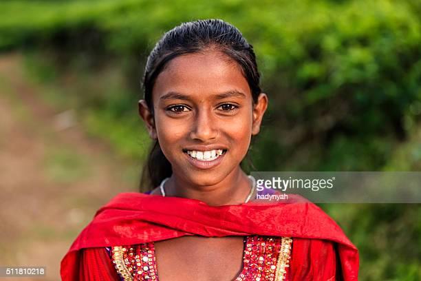 Porträt von Sri-lankische junge Mädchen in der Nähe von Nuwara Eliya, Ceylon