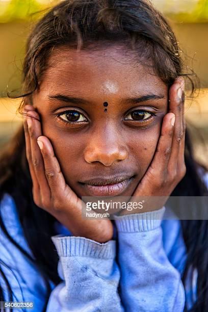Portrait of Sri Lankan young girl near Nuwara Eliya, Ceylon