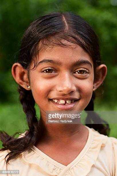portrait of  sri lankan young girl - sri lankan school girls stock photos and pictures