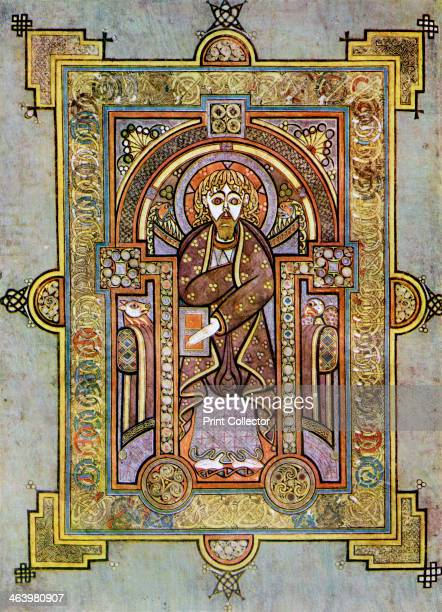 Portrait of St Matthew 800 AD A 20thcentury copy of the illustrated manuscript produced by Celtic monks around AD 800 Illustration from The Book of...