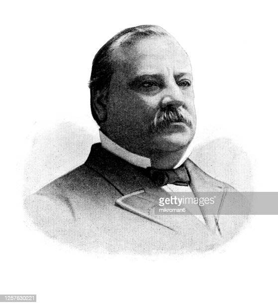 portrait of stephen grover cleveland, 22nd and 24th president of the united states (1885–1889 and 1893–1897) - mayor stock pictures, royalty-free photos & images