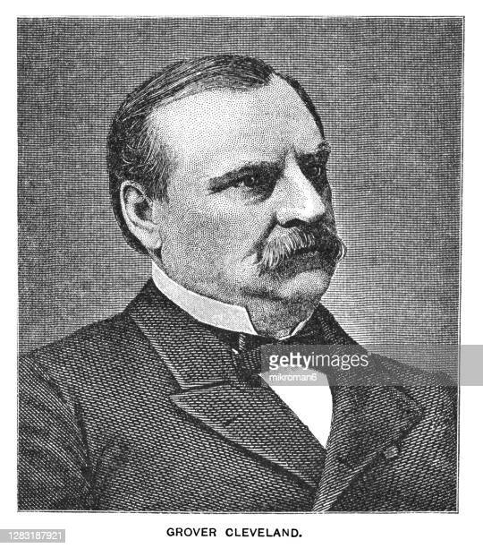 portrait of stephen grover cleveland, 22nd and 24th president of the united states (1885–1889 and 1893–1897) - us president stock pictures, royalty-free photos & images