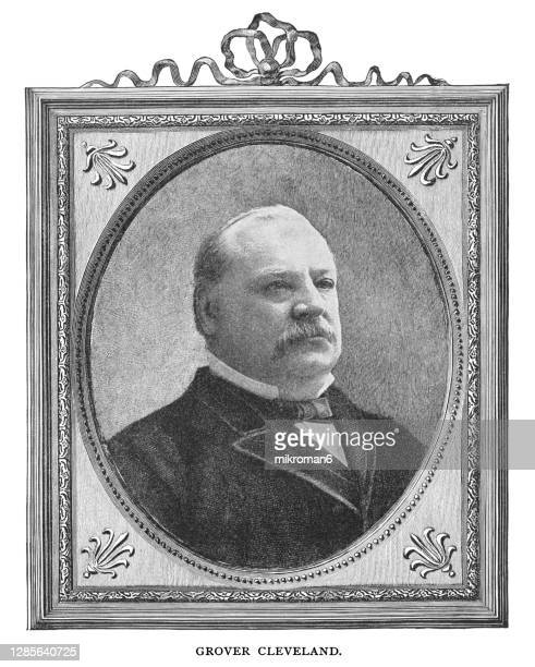 portrait of stephen grover cleveland, 22nd and 24th president of the united states (1885–1889 and 1893–1897) - united states presidential election stock pictures, royalty-free photos & images
