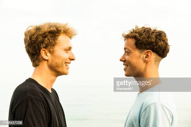 portrait of strawberry blonde young men, face to face - face to face stock pictures, royalty-free photos & images