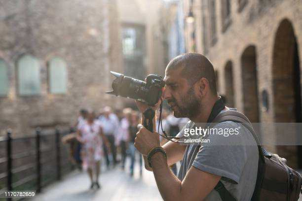 portrait of street photographer in city of london - photographer stock pictures, royalty-free photos & images