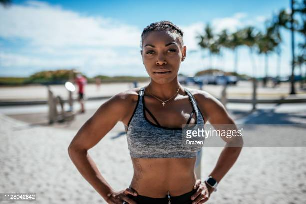 portrait of strong afro-latina athlete in usa - afro caribbean ethnicity stock pictures, royalty-free photos & images