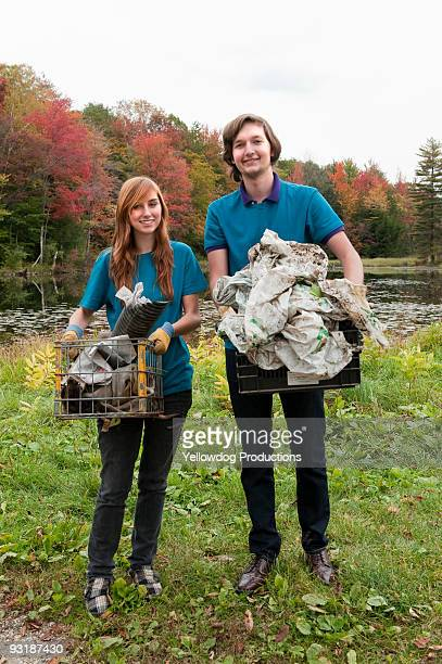Portrait of Students with Trash Cleanup