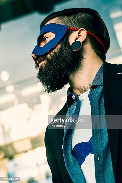 Portrait of Stylish Hipster superhero