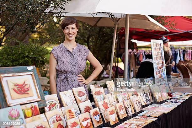 portrait of stylish shop owner at market - painting art product stock pictures, royalty-free photos & images