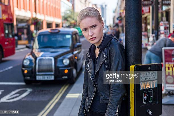 Portrait of stylish woman in the city streets