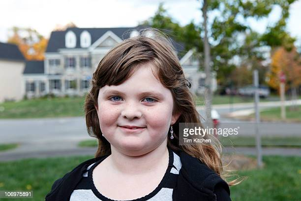 portrait of suburban girl - fat girls stock photos and pictures